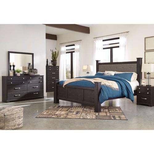 Reylow - Queen Poster Bed, Dresser, Mirror, 1 X Nightstand