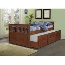 Mission Captains Bed with Storage Drawers and Trundle-Full Size