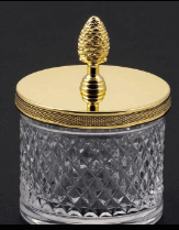 Cut Crystal Cotton Jar with Lid in Polished Nickel