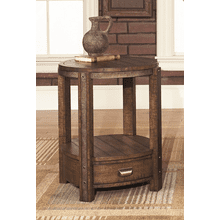 Round End table in Distressed Umber finish   (1017-06,53011)