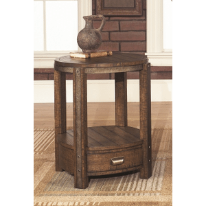 Null Furniture Inc - Round End table in Distressed Umber finish   (1017-06,53011)