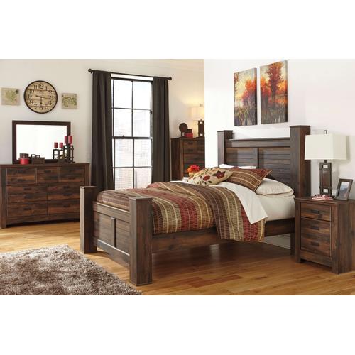 Quinden - Queen Poster Bed, Dresser, Mirror, 1 X Nightstand