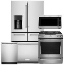 "See Details - KITCHENAID 25.8 Cu. Ft. 36"" Multi-Door Refrigerator & 5-Burner Dual Fuel Convection Slide-In Range 4 Pc Package- Open Box"