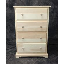 """Maine Made 4 Drawer Lingerie Chest 24""""W x 37""""H x 18""""D Pine Unfinished"""