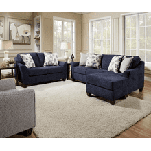 View Product - Sofa-Chaise and Loveseat - Prelude Navy