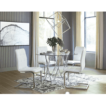 Madanere - Chrome Finish - 5 Pc. - Round Table & 4 White Side Chairs