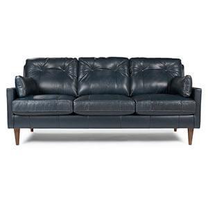 Navy Leather Sofa