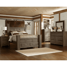 Juararo- Dark Brown- 7 Pc.- Dresser, Mirror, Chest, Nightstand & Queen Poster Bed with Storage