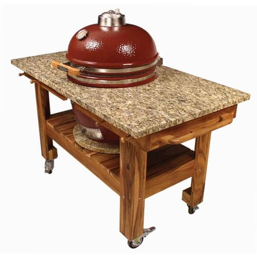 "Saffire Kamado - Silver (2017 Model) - Large 19"" in Jasper Red w/ Table & Granite Top"