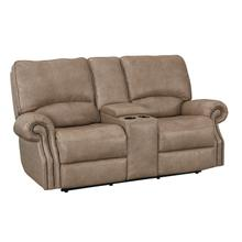 Prescott Wheat Leather Power Reclining Console Loveseat with Power Tilt Headrests