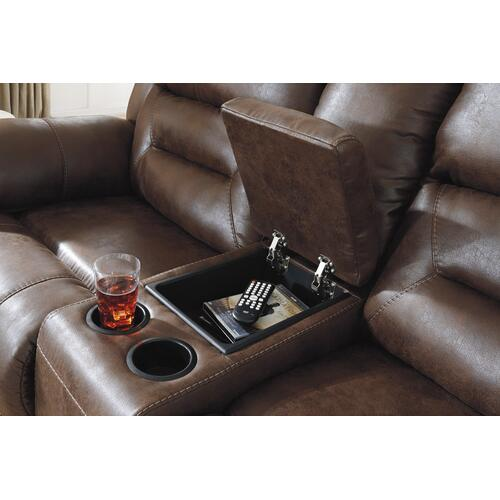 Stoneland Reclining Power Sofa & Console Loveseat Chocolate