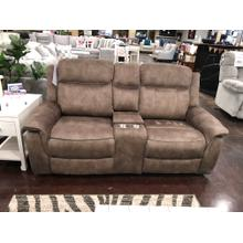 Tan Fabric Reclining Loveseat