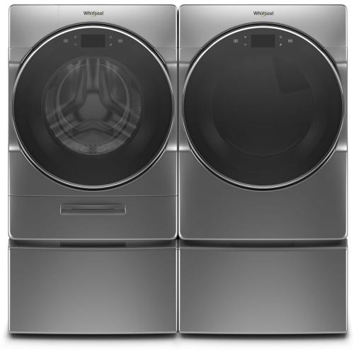 WHIRLPOOL Load & Go XL Plus Dispenser 5.0 Cu.Ft. Front Load Washer & 7.4 Cu.Ft. Electric Dryer with Pedestals - Chrome Shadow