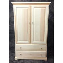 Maine Made Traditional 2 Drawer Armoire with Divider 38.5W X 60H X 20D Pine Unfinished