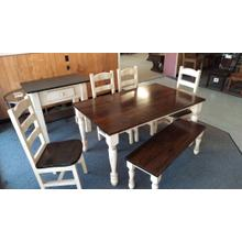 5' Farmhouse Table with Bench & 4 Chairs