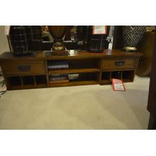 View Product - Dark stained solid wood credenza. lots of shelf room and 2 drawers