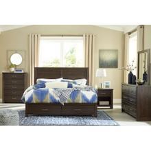 Darbry - Queen Panel Bed with Storage, Dresser, Mirror, 1 x Nightstand