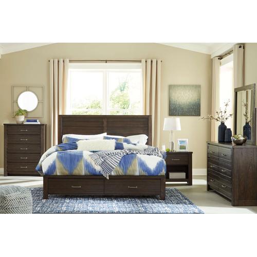 Packages - Darbry - Queen Panel Bed with Storage, Dresser, Mirror, 1 x Nightstand