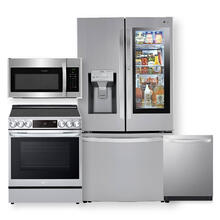 See Details - Smart wi-fi Enabled 24 cu. ft. InstaView Door-in-Door Counter-Depth Refrigerator & 6.3 cu. ft. Electric Slide-In Range with Air Fry- 4 Pc Package