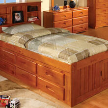 See Details - Honey Twin Bookcase Captains Bed