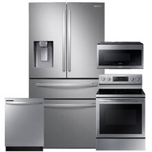 See Details - SAMSUNG 28 cu. ft. Food Showcase 4-Door French Door Refrigerator in Stainless Steel 4 Pc Package- Open Box