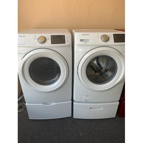 Product Image - Refurbished White Electric Samsung Washer Dryer Set on Pedestals. Please call store if you would like additional pictures. This set carries our 6 month warranty, MANUFACTURER WARRANTY AND REBATES ARE NOT VALID (Sold only as a set)