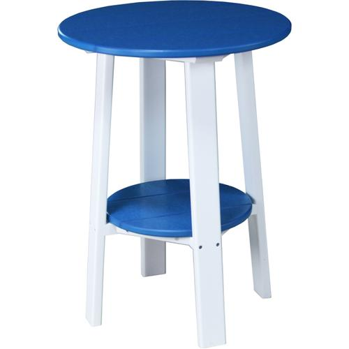 """Deluxe End Table 28"""" Blue and White"""