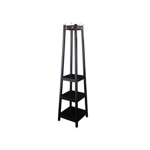Huntersville Black Coat Rack with Shelves