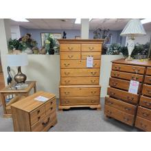 See Details - 9 Drawer Solid Light Oak Chest On Chest