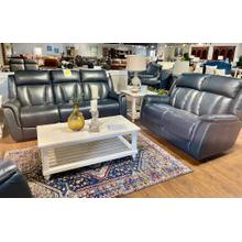 Juno Cobalt Power Reclining Leather Sofa & Loveseat