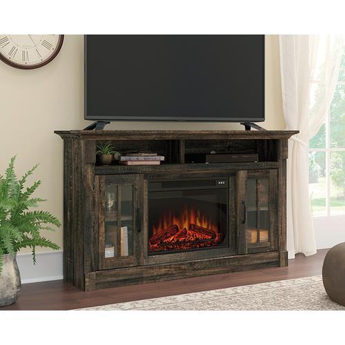 Sauder - TV Credenza with Fireplace & Glass Doors