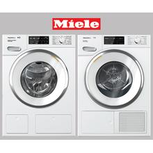 MIELE White Front Load Washer & Dryer set w/ QuickIntenseWash and SteamFinish
