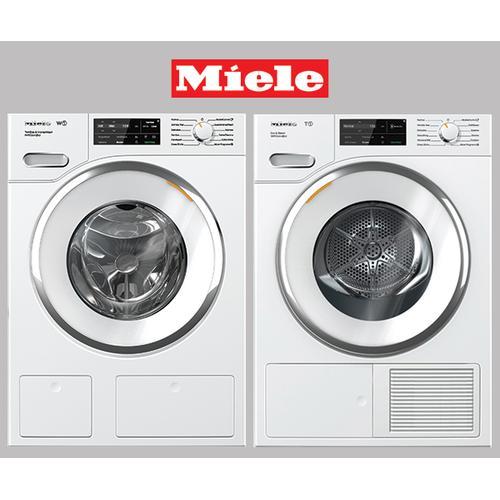 MIELE White Front Load Washer & Dryer set w/ QuickIntenseWash and SteamFinish