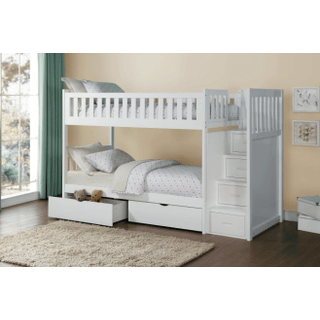 Galen Bunk Bed Twin on Twin with Reversible Step Storage and Storage Drawers