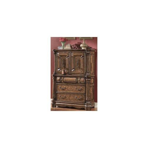 Amini - King Bed, Dresser, Mirror, Gentlemans Chest, Nightstand, and Fireplace