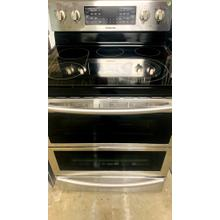 See Details - USED- 5.9 cu. ft. Freestanding Electric Range with Flex Duo™ & Dual Door in Stainless Steel- E30SSGLAS-U  SERIAL #103