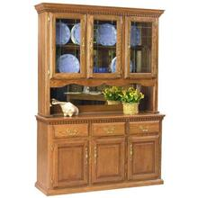 "60"" Hutch w/ 3 Half Doors, Touch Light, Mirror Backs' Felt Lined Drawers"