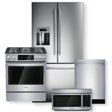 """BOSCH 36"""" Stainless Steel French Door Refrigerator w/ Exterior Ice and Water Dispenser Package"""
