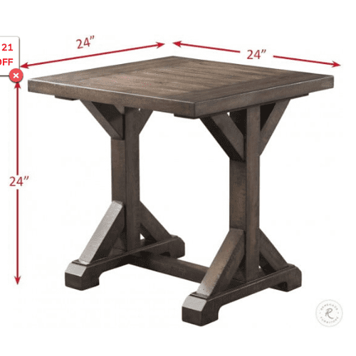 Elements - Finn Trestle Base End Table in Dark Walnut Finish       (TFFN-1---TET,75212)