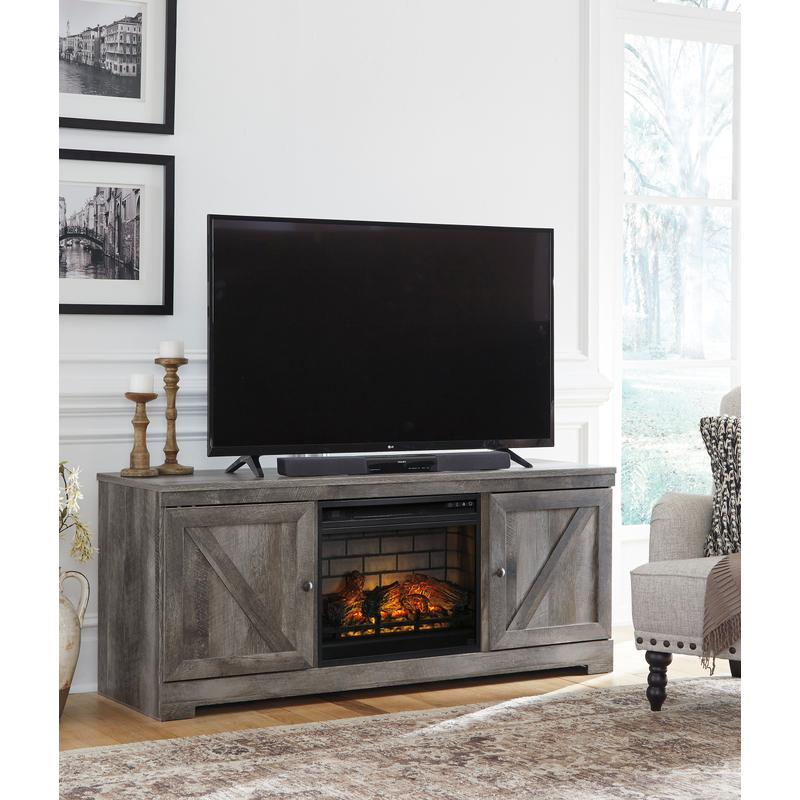 """View Product - Wynnlow Gray 63.5"""" Fireplace TV Stand"""