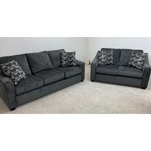 Stanton 496 Sofa and Loveseat in Lux Dark Grey and Denali Pewter with Espresso Leg . 100% Polyester . CC:  WS