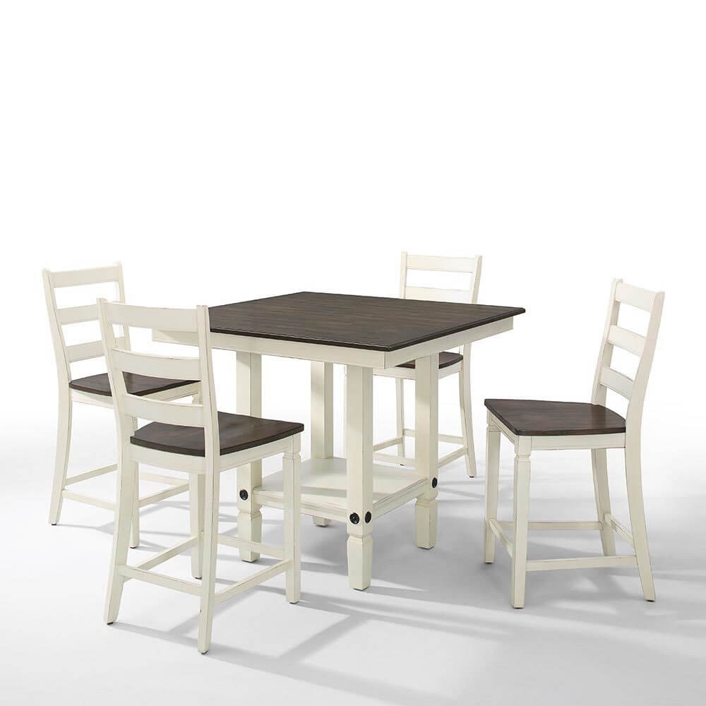 """Glennwood 42"""" Counter Table & 4 Tall Stools in White & Charcoal"""