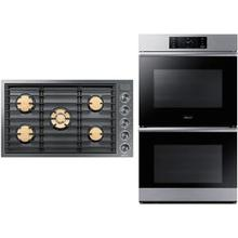 """See Details - Dacor Modernist Silver Stainless 30"""" Electric Double Steam Oven & 36"""" Gas Cooktop"""