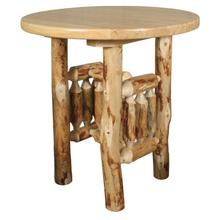 "WRP148 White Cedar 42"" Round Pub Table with Rustic Red Pine Legs"