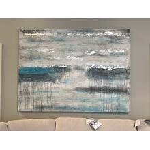 Large Abstract Wall Art with Silver Detail