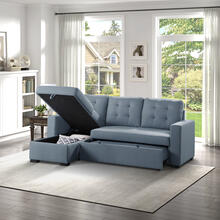 See Details - 2-Piece Reversible Sectional with Pull-out Bed and Hidden Storage
