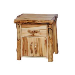 1 Drawer / 2 Door Nightstand Flat Front Wild Panel Gnarly Log
