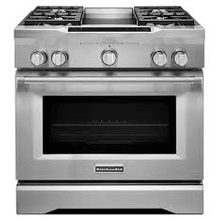 "MOD # KDRS463VSS-DS1 S/N 5597 NEW GRATES KitchenAid 36"" 4 Burner Commercial Dual Fuel Range with Electric Chrome Griddle and True Convection - Stainless Steel"