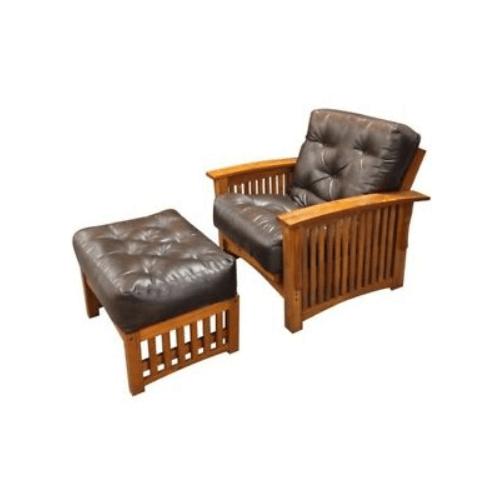 "Gold Bond Futons - Portland Futon Frame - 28"" chair with ottoman"