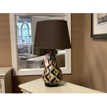 Geometric Earth Toned Lamp with Brown Shade